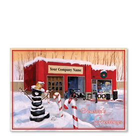 Double Personalized Full-Color Automotive Holiday Postcards - CandyCane Shop