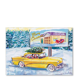 Double Personalized Full-Color Automotive Holiday Postcards - Holiday Outing