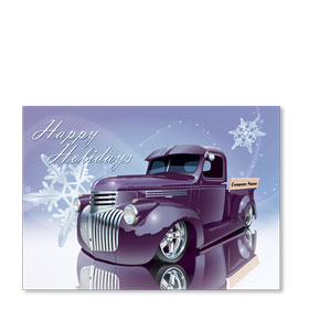 Double Personalized Full-Color Automotive Holiday Postcards - Snowflake Refections
