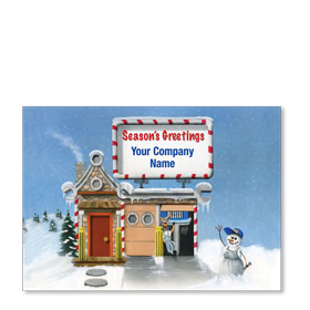 Double Personalized Full Color Holiday Postcard - Repair Cottage