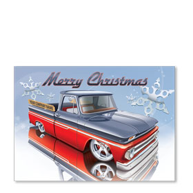 Double Personalized Full Color Automotive Holiday Postcards - Red Reflection