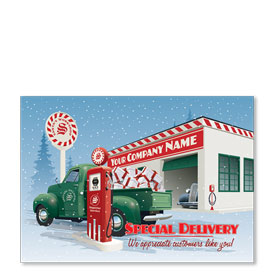 Double Personalized Full-Color Automotive Holiday Postcards - Service Station