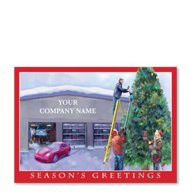 Double Personalized Full-Color Automotive Holiday Postcards - Holiday Lights