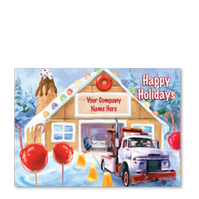 Double Personalized Full-Color Automotive Holiday Postcards - Gumdrop Automotive