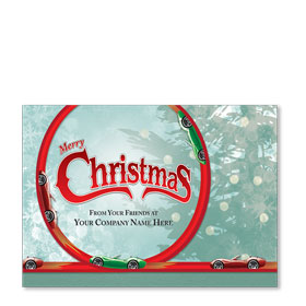 Double Personalized Full Color Holiday Postcard - Christmas Car Loop