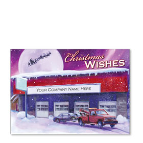Double Personalized Full-Color Automotive Holiday Postcards - Purple Aurora