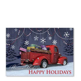 Double Personalized Full-Color Automotive Holiday Postcards - Revered Red Pickup