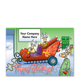 Double Personalized Full-Color Automotive Holiday Postcards - Merry Detail