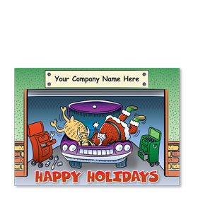 Double Personalized Full-Color Automotive Holiday Postcards - Dynamic Duo