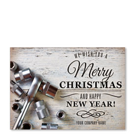 Double Personalized Full Color Holiday Postcard - Rustic Repair