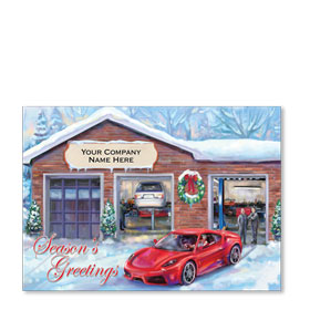Double Personalized Full-Color Automotive Holiday Postcards - Sporty Sleigh