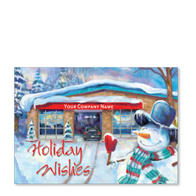 Double Personalized Full-Color Automotive Holiday Postcards - Snowman Welcome