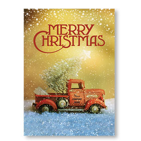 Double Personalized Full-Color Automotive Holiday Postcards - Vintage Trinket