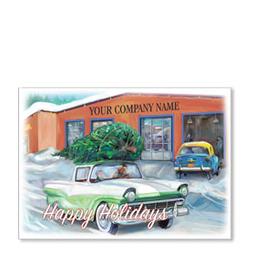 Double Personalized Full-Color Automotive Holiday Postcards - Christmas Memory