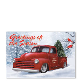 Double Personalized Full Color Holiday Postcard - Cardinal Classic
