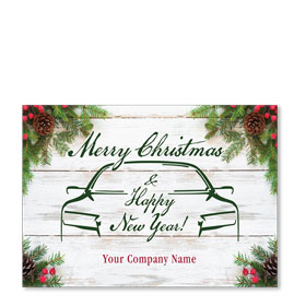 Double Personalized Full Color Holiday Postcard - Wooden Pine