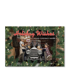 Double Personalized Full Color Holiday Postcard - Nostalgic Clubhouse