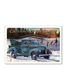 Double Personalized Full Color Holiday Postcard - Winter Skating