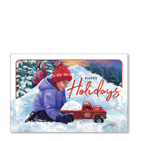 Double Personalized Full Color Holiday Postcard - Snow Hill