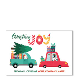 Double Personalized Full Color Holiday Postcard - Christmas Joy