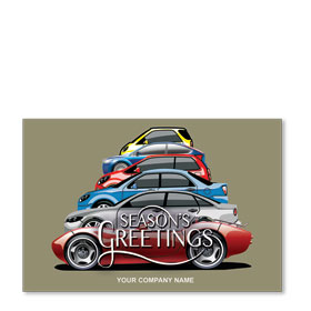 Double Personalized Full Color Holiday Postcard - Tree Lineup