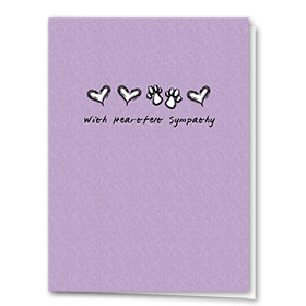 Pet Sympathy Cards - Hearts & Paws