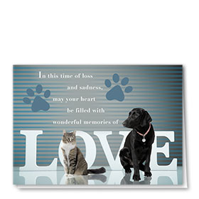 Pet Sympathy Cards - Love Stripes