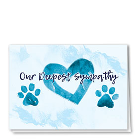 Pet Sympathy Cards - Teal Heart