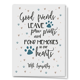 Pet Sympathy Cards - Grey Hearts