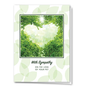 Pet Sympathy Cards - Green Leaves