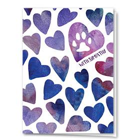 Pet Sympathy Cards - Indigo Hearts