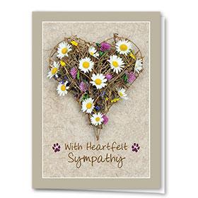 Pet Sympathy Cards - Daisy Heart