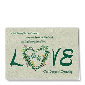 Pet Sympathy Cards - Floral Heart