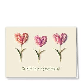 Pet Sympathy Cards - Heart Petals