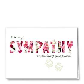 Pet Sympathy Cards - Flower Words