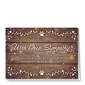 Pet Sympathy Cards - White Leaves