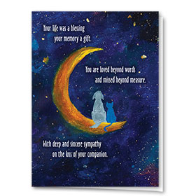 Pet Sympathy Cards - Crescent Moon