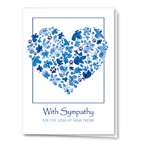 Pet Sympathy Cards - Blue Floral