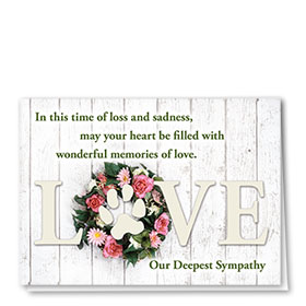 Pet Sympathy Cards - Rose Wreath