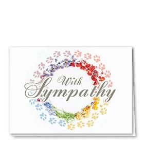 Pet Sympathy Cards - Rainbow Wreath