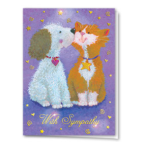 Premium Foil Pet Sympathy Cards - Fuzzy Friends
