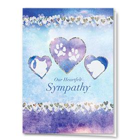 Premium Foil Pet Sympathy Cards - Sparkling Hearts