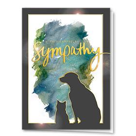 Premium Foil Pet Sympathy Cards - Gold Lining