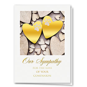 Premium Foil Pet Sympathy Cards - Pair of Hearts