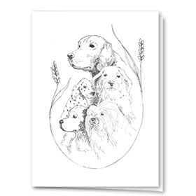 Multi-Purpose Veterinary Greeting Cards - Dogs in Wheat