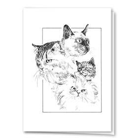 Multi Purpose Card-Cats In A Line
