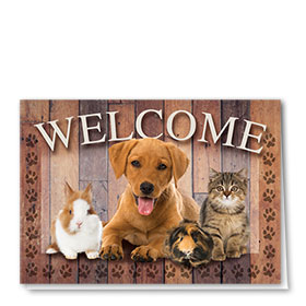Veterinary Welcome Cards - Wood Welcome