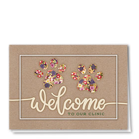 Veterinary Welcome Cards - Floral Paws