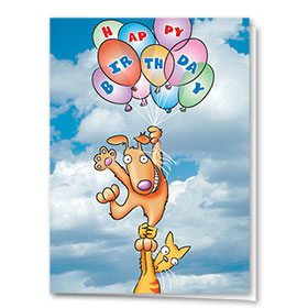 Pet Birthday Cards - Floating Birthday