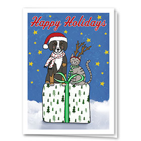 Veterinary Holiday Cards - Green Bow